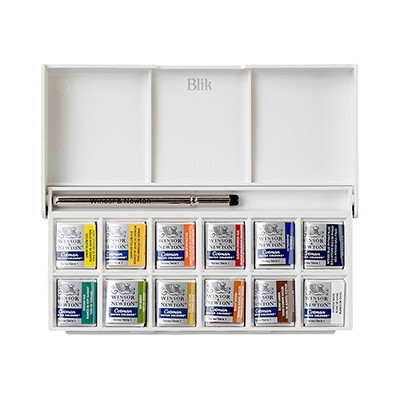 """Zestaw farb akwarelowych Winsor & Newton """"Sketchers"""" Pocket Box 12 kolorów"""
