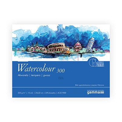 Blok akwarelowy Watercolour firmy Gamma 300g 10 ark. 24x32 cm