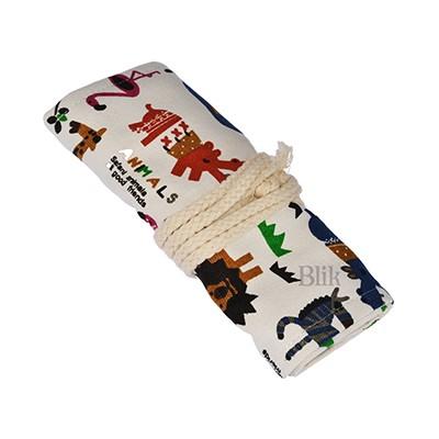 Piórnik etui z tkaniny na kredki 36 motyw animals