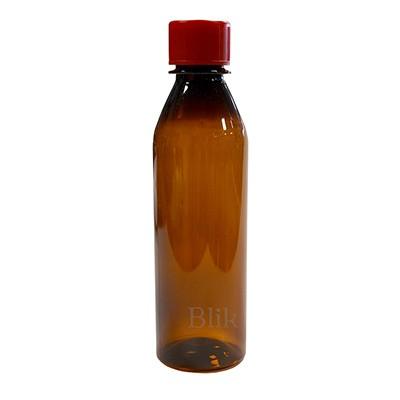 Butelka plastikowa z zakrętką brązowa 250 ml